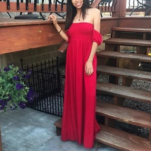 Red off the shoulder maxi-dress